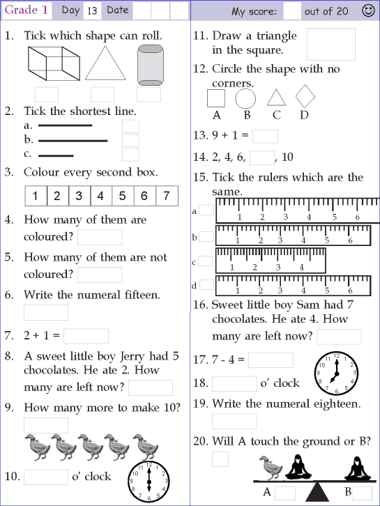 Mental Math Grade 1 Day 13