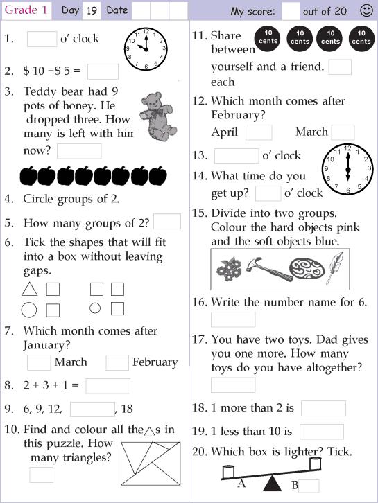 Mental Math Grade 1 Day 19