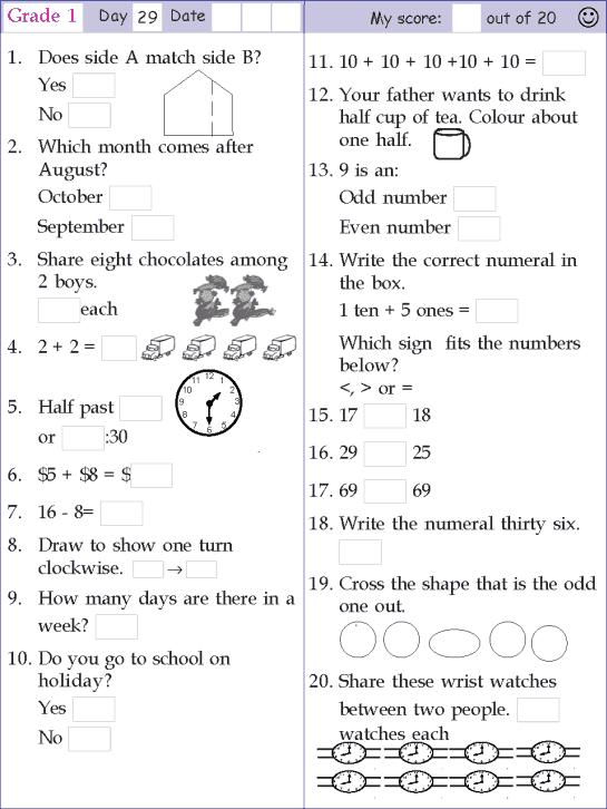 Mental Math Grade 1 Day 29 Mental Math