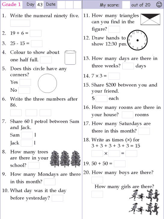 Mental Math Grade 1 Day 43