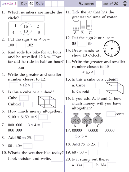 Mental Math Grade 1 Day 45