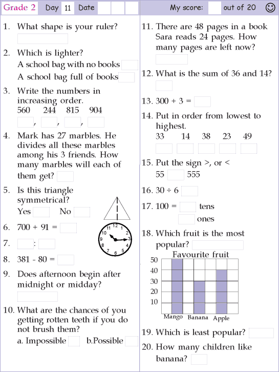 Mental Math Grade 2 Day 11