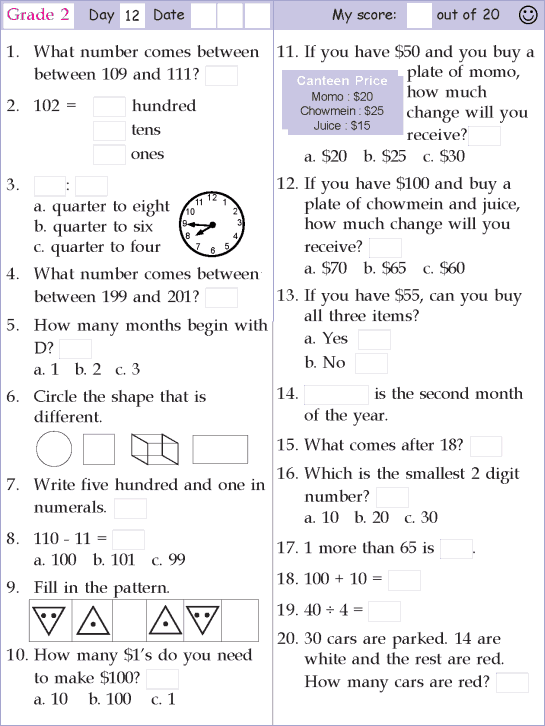 Mental Math Grade 2 Day 12