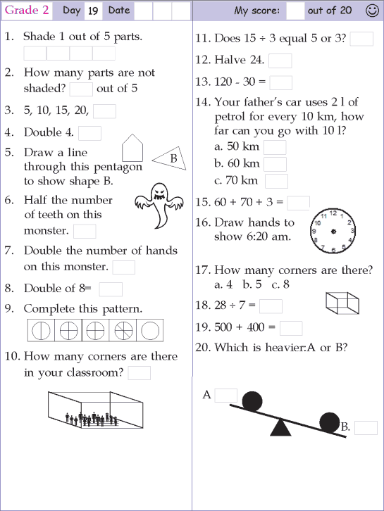 Mental Math Grade 2 Day 19
