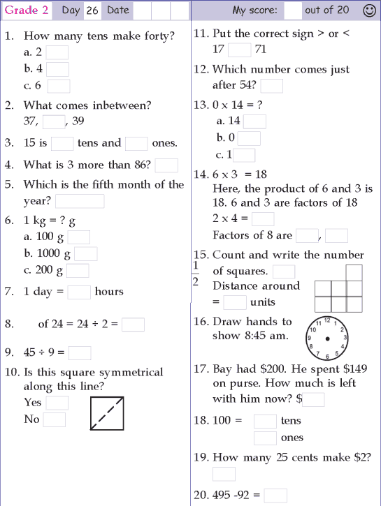 Mental Math Grade 2 Day 26