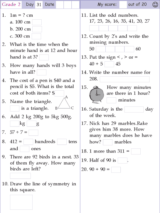 Mental Math Grade 2 Day 31