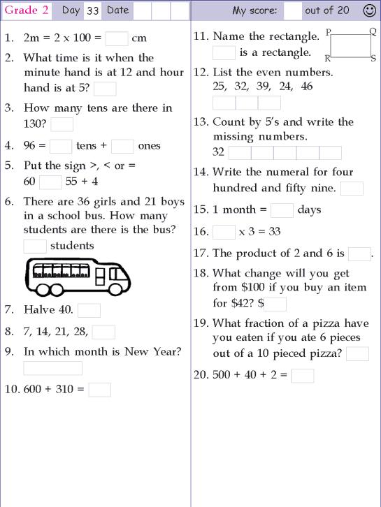 Mental Math Grade 2 Day 33