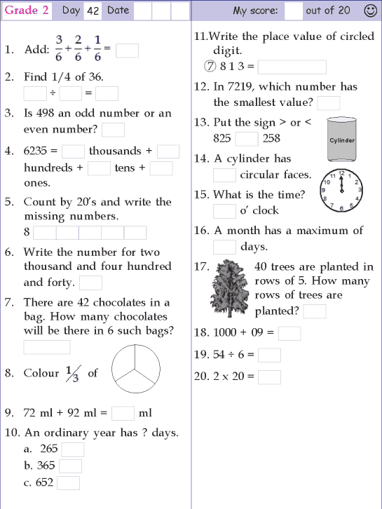 Mental Math Grade 2 Day 42