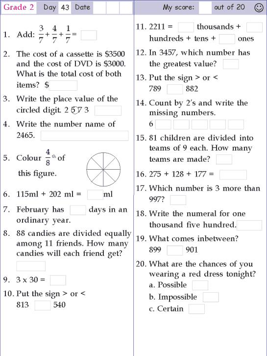 Mental Math Grade 2 Day 43