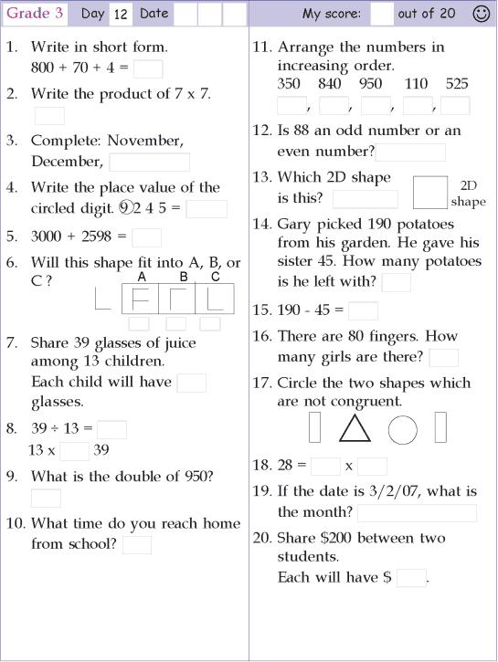 Mental Math Grade 3 Day 12