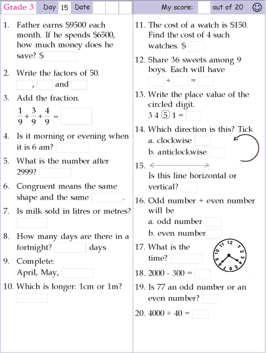 Mental Math Grade 3 Day 15