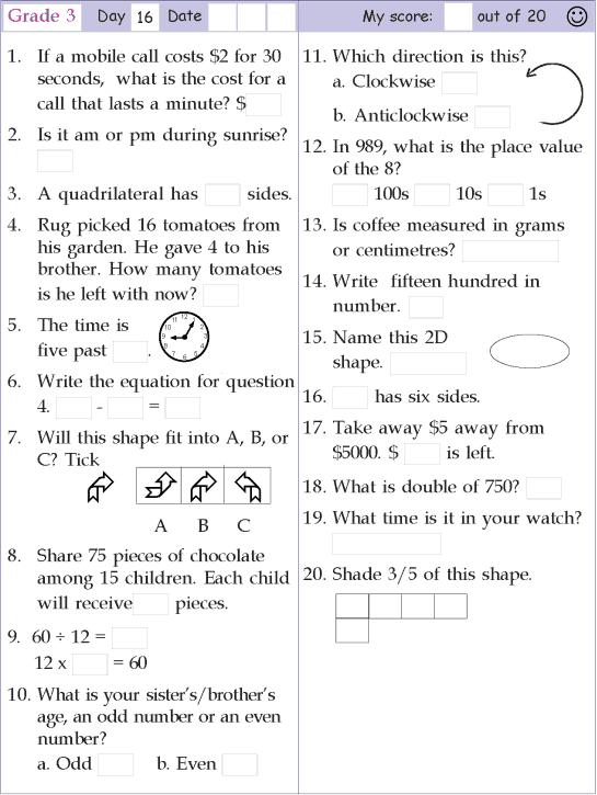 Mental Math Grade 3 Day 16
