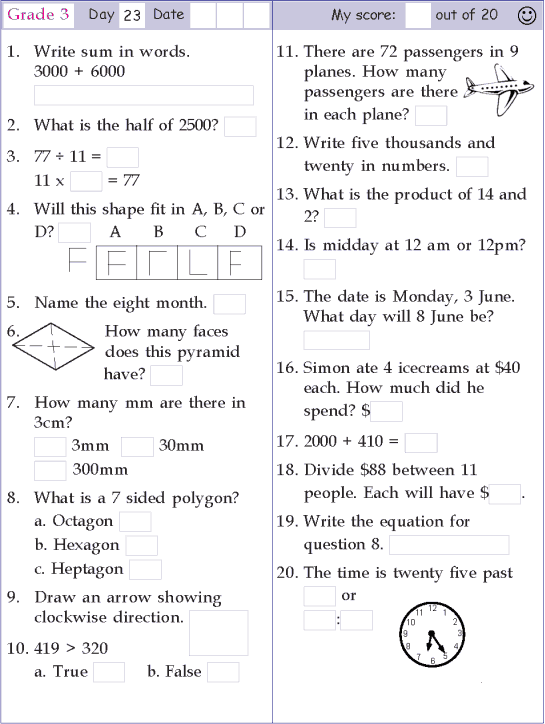 Mental Math Grade 3 Day 23