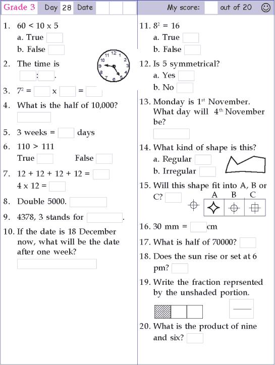 Mental Math Grade 3 Day 28