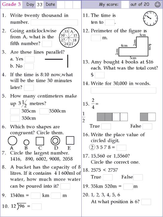 Mental Math Grade 3 Day 33