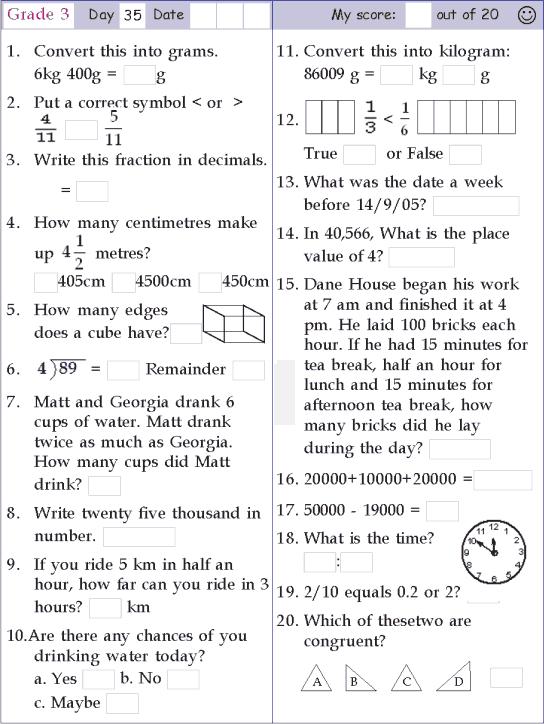 Mental Math Grade 3 Day 35