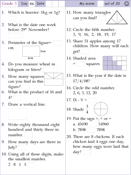 Mental Math Grade 3 Day 46