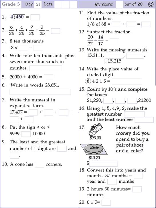 Mental Math Grade 3 Day 51
