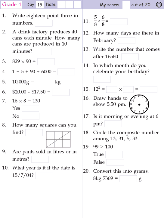 Mental Math Grade 4 Day 15