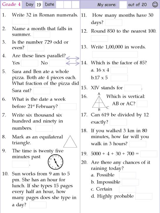Mental Math Grade 4 Day 19