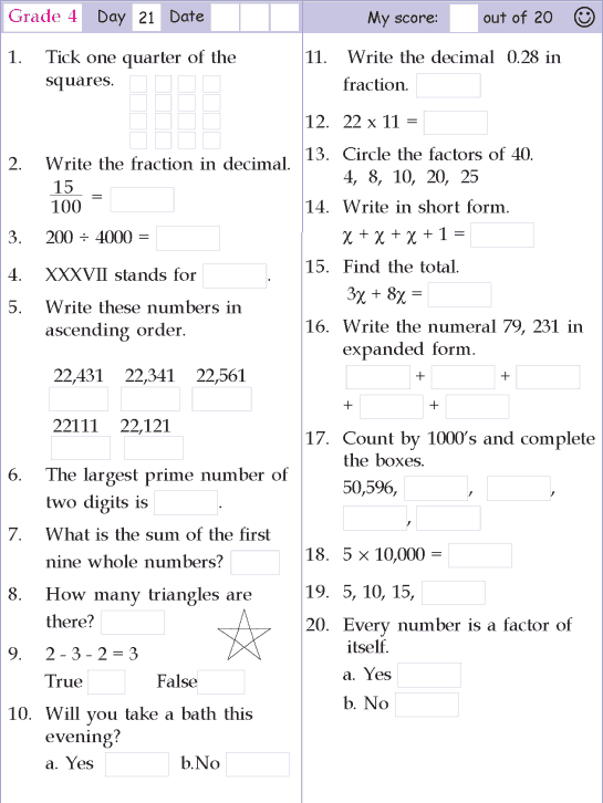 Mental Math Grade 4 Day 21