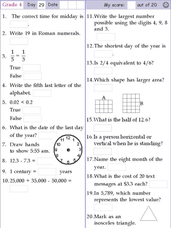 Mental Math Grade 4 Day 29