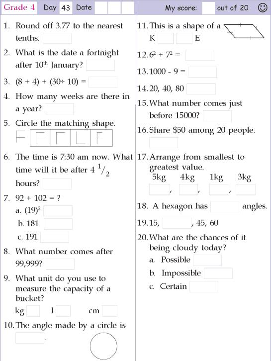 Mental Math Grade 4 Day 43