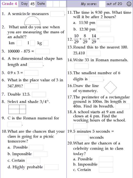 Mental Math Grade 4 Day 45