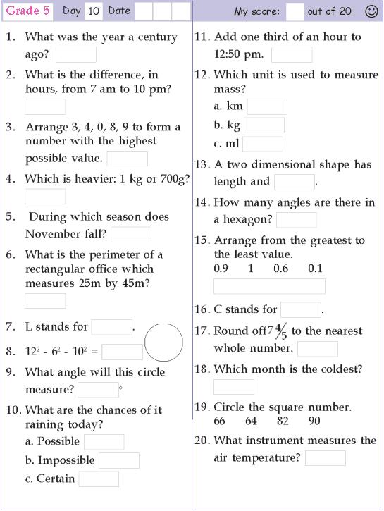 Mental Math Grade 5 Day 10