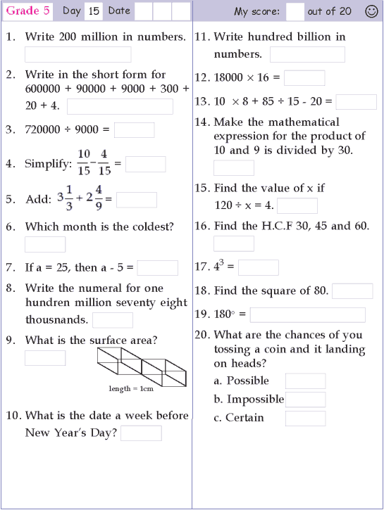 Mental Math Grade 5 Day 15