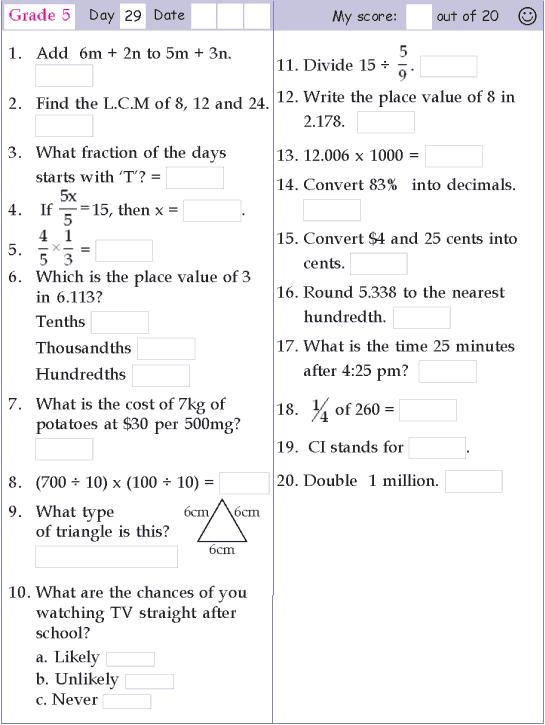 Mental Math Grade 5 Day 29