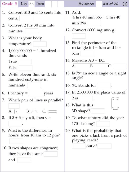 Mental Math Grade 5 Day 36