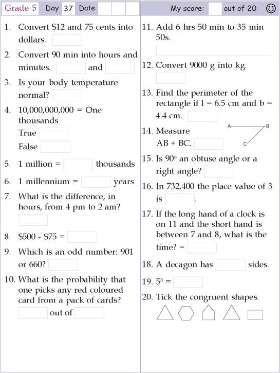 Mental Math Grade 5 Day 37