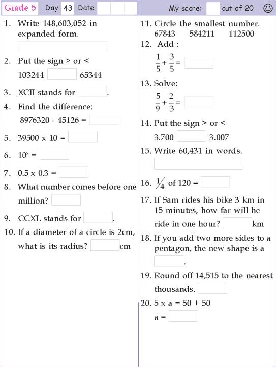 Mental Math Grade 5 Day 43