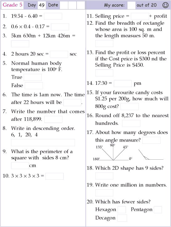 Mental Math Grade 5 Day 49