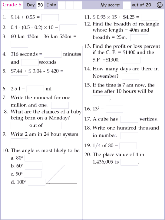 Mental Math Grade 5 Day 50