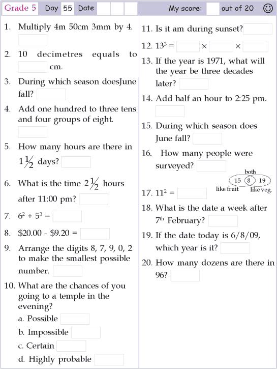 Mental Math Grade 5 Day 55