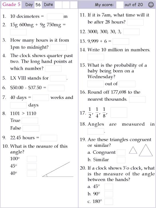 Mental Math Grade 5 Day 56