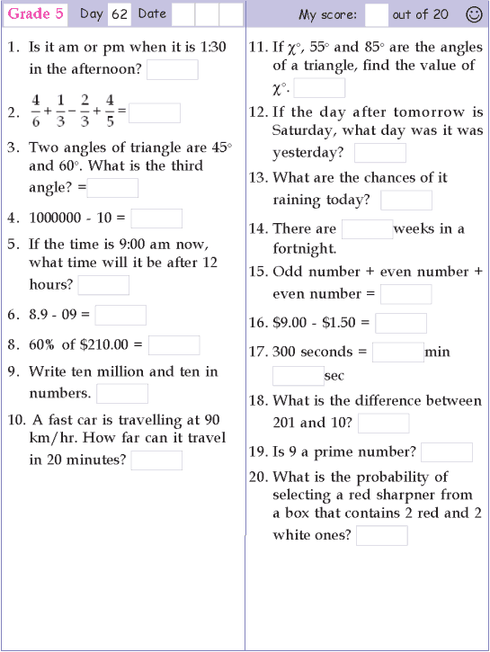 Mental Math Grade 5 Day 62