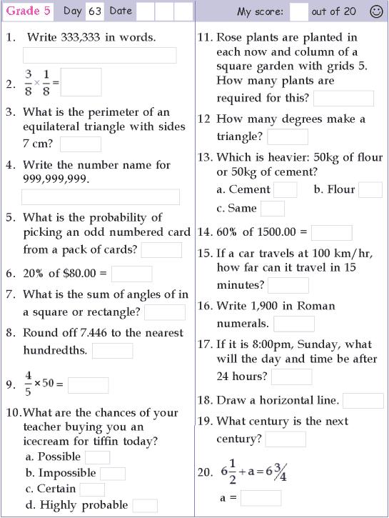Mental Math Grade 5 Day 63
