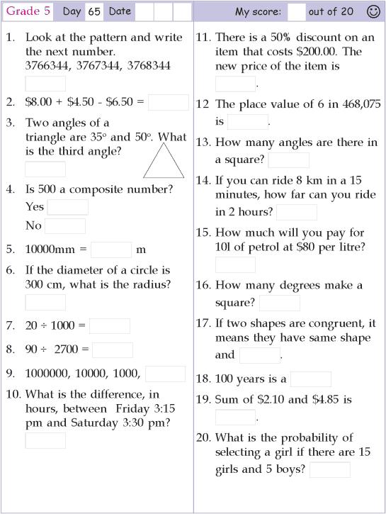 Mental Math Grade 5 Day 65