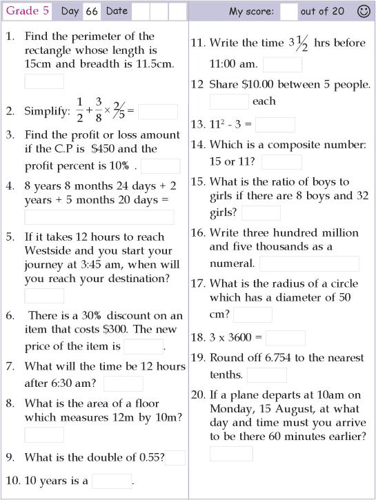Mental Math Grade 5 Day 66