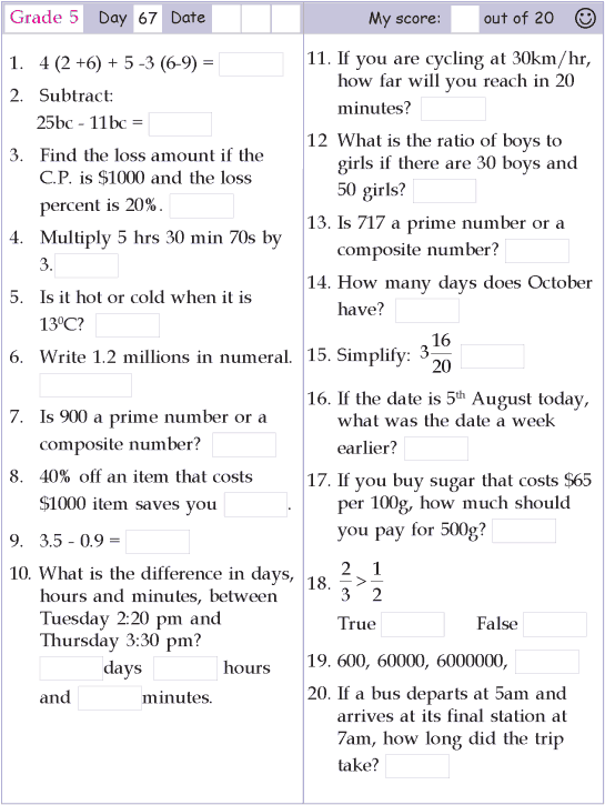 Mental Math Grade 5 Day 67